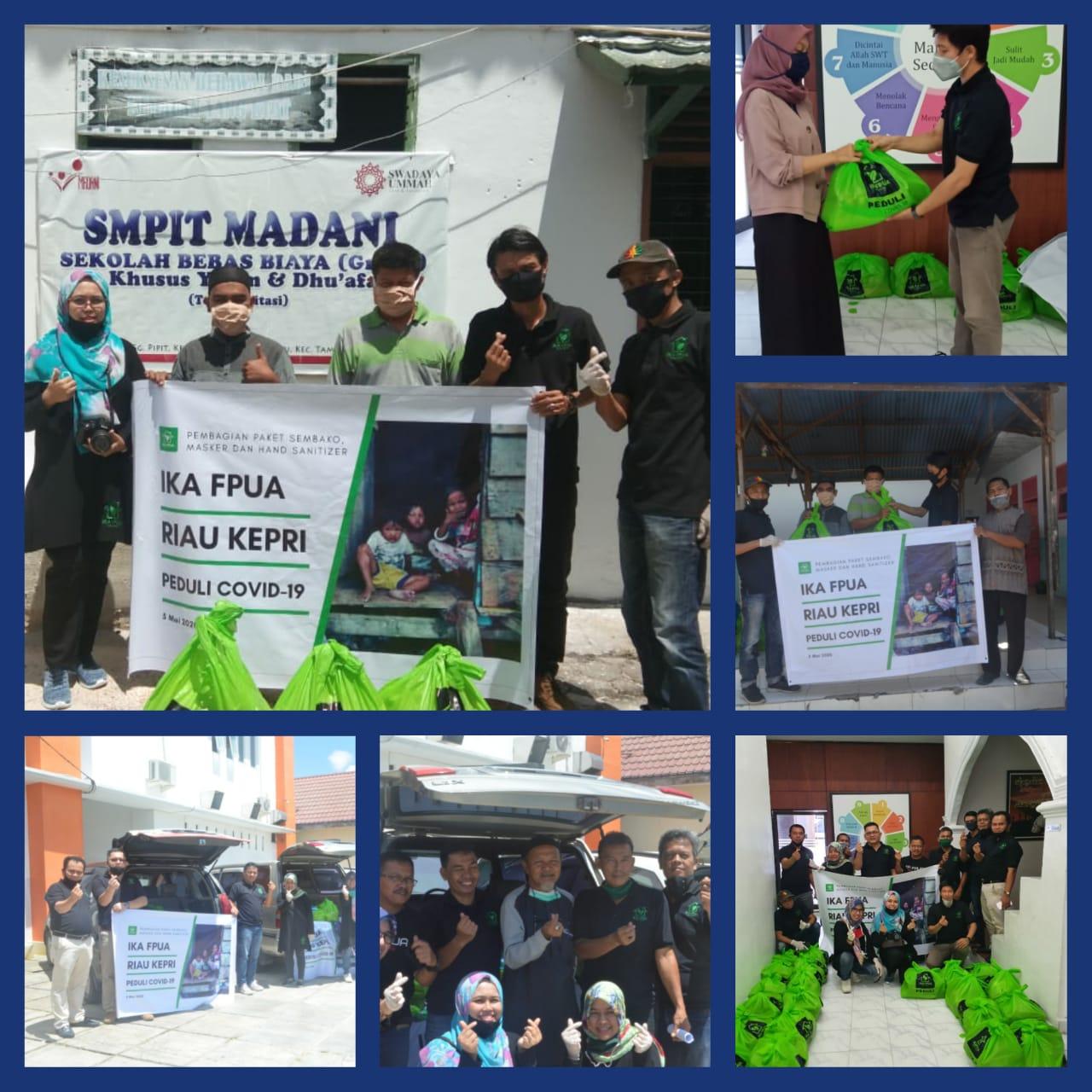 Peduli Cavid-19, IKA FPUA Riau-Kepri Salurkan BLT dan 100 Paket Sembako