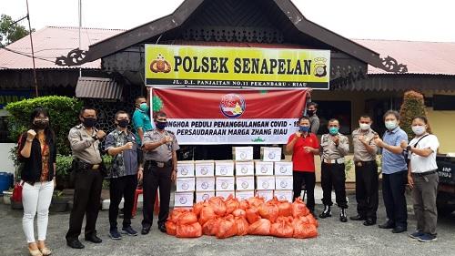 Marga Zhang Riau Salurkan Sembako Lewat Koramil dan Polsek Senapelan